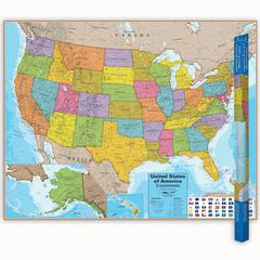 ROUND WORLD PRODUCTS HEMISPHERES LAMINATED MAP UNITED STATES