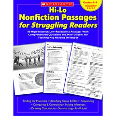 SCHOLASTIC TEACHING RESOURCES HI-LO NONFICTION PASSAGES GR 6-8 FOR STRUGGLING READERS