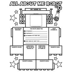 SCHOLASTIC TEACHING RESOURCES ALL ABOUT ME ROBOT GRAPHIC ORGANIZER POSTERS