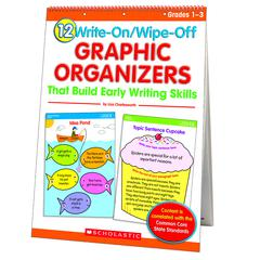 SCHOLASTIC TEACHING RESOURCES 12 WRITE ON WIPE OFF GRAPHIC ORGANIZERS EARLY WRITING SKILLS FC