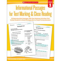 SCHOLASTIC TEACHING RESOURCES GR 1 INFORMATIONAL PASSAGES FOR TEXT MARKING & CLOSE READING