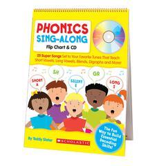 SCHOLASTIC TEACHING RESOURCES PHONICS SING-ALONG FLIP CHART & CD GR K-2