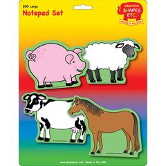 CREATIVE SHAPES ETC FARM ANIMALS SET LARGE NOTEPAD