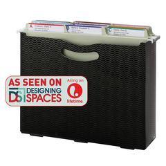 "Smead 3"" Expansion Poly File Box - Letter - 8 1/2"" x 11"" Sheet Size - 3"" Expansion - Polypropylene - Black - 1 Each"