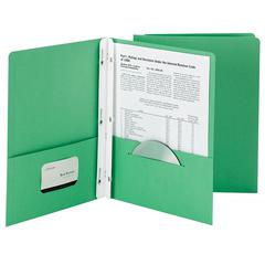 SMEAD 25CT DARK GREEN TWO POCKET FOLDERS WITH FASTENERS