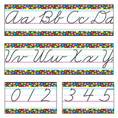 TREND ENTERPRISES BB SET STAINED GLASS CURSIVE ALPHABET LINE Z-B