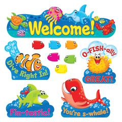 Trend Sea Buddies Coll. Welcome Bulletin Board Set - 42 (Fish) Shape - 47 Piece
