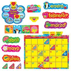 TREND ENTERPRISES WIPE OFF STARS N SWIRLS CALENDAR CLING SPANISH  BB SET