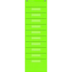 "Teacher Created Resources Polka Dot Storage Pocket Chart - 10 Pocket(s) - 58"" Height x 14"" Width - Hanging - Lime - 1Each"