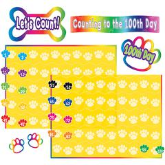 TEACHER CREATED RESOURCES PAW PRINTS COUNTING TO 100 BULLETIN BOARD SET