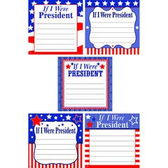 """Teacher Created Resources If I Were President Accents - If I Were President Accents - 6"""" Height x 6"""" Width - Red, White, Blue - 30 / Pack"""