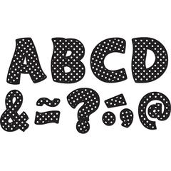 TEACHER CREATED RESOURCES BLACK POLKA DOTS FUNTASTIC FONT 3IN MAGNETIC LETTERS