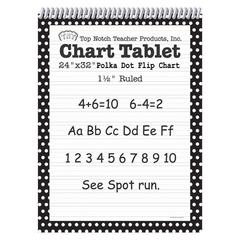 TOP NOTCH TEACHER PRODUCTS POLKA DOT CHART TABLET BLACK 1.5 RULED