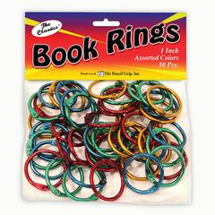 """The Pencil Grip Pencil Grip Color Book Rings - 1"""" Height x 0.1"""" Width x 1"""" Depth - Assorted Metallic - Steel - 50 / Pack"""