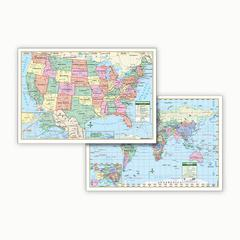 KAPPA MAP GROUP / UNIVERSAL MAPS US & WORLD POLITCAL ROLLED MAP SET 40 X 28