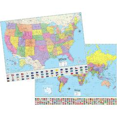 KAPPA MAP GROUP / UNIVERSAL MAPS US & WORLD ADV POLITCAL MAP SET ROLLED 46X36