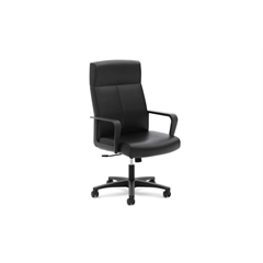 High-Back Executive Chair | Center-Tilt | Fixed Arms | Black SofThread Leather