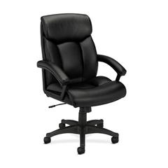 basyx by HON HVL151 Executive High-Back Chair | Center-Tilt | Fixed Arms | Black SofThread Leather