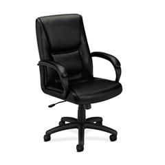 HVL161 Executive High-Back Chair | Center-Tilt | Fixed Arms | Black SofThread Leather