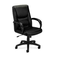 basyx by HON HVL161 Executive High-Back Chair | Center-Tilt | Fixed Arms | Black SofThread Leather
