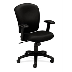 basyx by HON HVL220 Mid-Back Task Chair | Center-Tilt | Adjustable Arms | Black Fabric