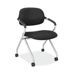 HVL303 Floating Back Nesting Chair | Casters | Silver Frame | Black Fabric | 1 per Carton