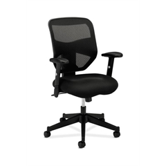 basyx by HON HVL531 Mesh High-Back Task Chair | Center-Tilt | Adjustable Arms | Black Sandwich Mesh Seat