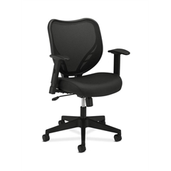 HVL551 HON Mesh Mid-Back Task Chair | Center-Tilt | Adjustable Arms | Black Fabric Seat