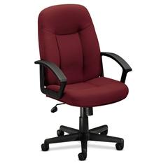 HVL601 Executive High-Back Chair   Center-Tilt   Fixed Arms   Burgundy Fabric