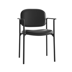 HVL616 Stacking Guest Chair | Fixed Arms | Black SofThread Leather