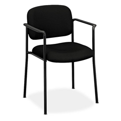 HVL616 Stacking Guest Chair | Fixed Arms | Black Fabric