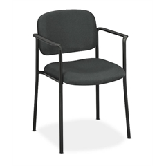 basyx by HON HVL616 Stacking Guest Chair | Fixed Arms | Charcoal Fabric