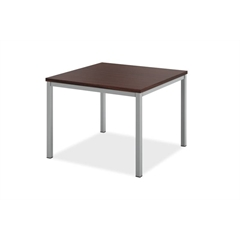 HML8851 Metal Leg Corner Table | Chestnut Laminate | Silver Frame