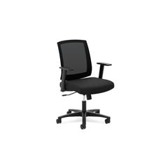 HVL511 Mesh Mid-Back Task Chair   Center-Tilt   Fixed Arms   Black Mesh   Black Fabric