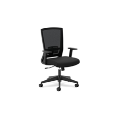 basyx by HON HVL541 Mesh High-Back Task Chair | Center-Tilt, Adjustable Lumbar | Adjustable Arms | Black Fabric