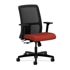HON Ignition Low-Back Mesh Task Chair   Center-Tilt   Adjustable Arms   Poppy Fabric