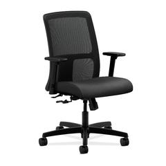 HON Ignition Low-Back Mesh Task Chair   Center-Tilt   Adjustable Arms   Onyx Fabric