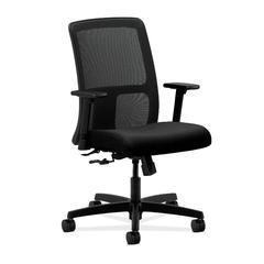HON Ignition Low-Back Mesh Task Chair | Center-Tilt | Adjustable Arms | Black Fabric