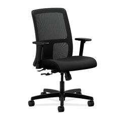 HON Ignition Low-Back Mesh Task Chair | Center-Tilt | Adjustable Arms | Black Fabric