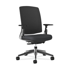 Lota Mesh Back Chair | Weight-Activated Tilt | Adjustable Arms | Black Fabric