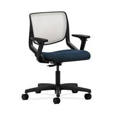 HON Motivate Task Chair | Fog ilira-Stretch Back | Adjustable Arms | Blue Fabric