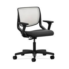 HON Motivate Task Chair | Fog ilira-Stretch Back | Adjustable Arms | Iron Ore Fabric
