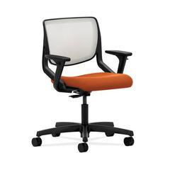 HON Motivate Task Chair | Fog ilira-Stretch Back | Adjustable Arms | Tangerine Fabric