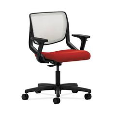HON Motivate Task Chair | Fog ilira-Stretch Back | Adjustable Arms | Tomato Fabric
