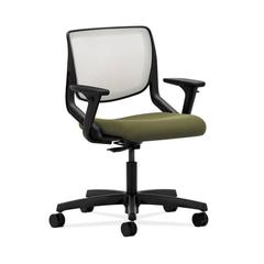 HON Motivate Task Chair | Fog ilira-Stretch Back | Adjustable Arms | Olivine Fabric