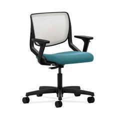 HON Motivate Task Chair | Fog ilira-Stretch Back | Adjustable Arms | Glacier Fabric