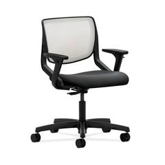 HON Motivate Task Chair | Fog ilira-Stretch Back | Adjustable Arms | Onyx Fabric