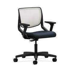 HON Motivate Task Chair | Fog ilira-Stretch Back | Adjustable Arms | Navy Fabric