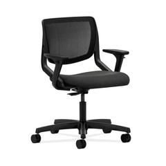 HON Motivate Task Chair | Black ilira-Stretch Back | Adjustable Arms | Gray Fabric