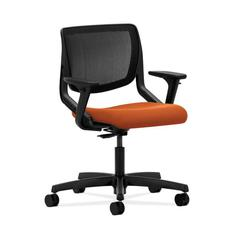 HON Motivate Task Chair | Black ilira-Stretch Back | Adjustable Arms | Tangerine Fabric